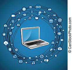 El círculo de la red de medios sociales