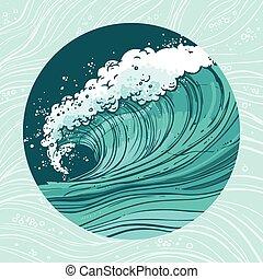 El círculo de olas marinas