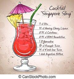 El cóctel de sling de Singapur