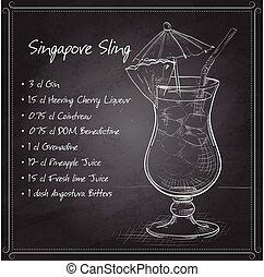 El cóctel de sling Singapur en la pizarra negra