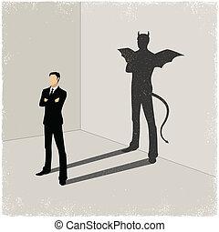 El caballero proyecta sombra del mal