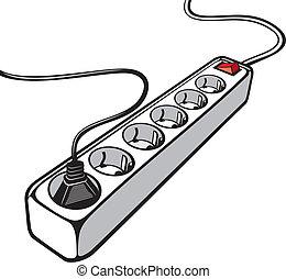 El cable de extensión eléctrica