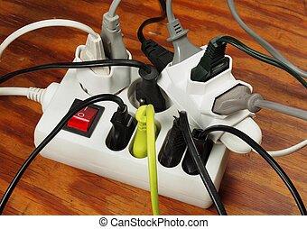 El cable de extensión sobrecargado