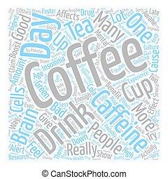 El café es bueno para ti o malo para ti. El concepto de palabra de fondo