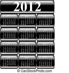 El calendario del vector 2012 en botones