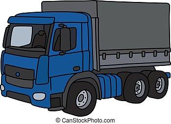 El camión de carga azul
