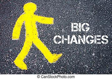 el caminar hacia, figura, grande, amarillo, peatón, cambios