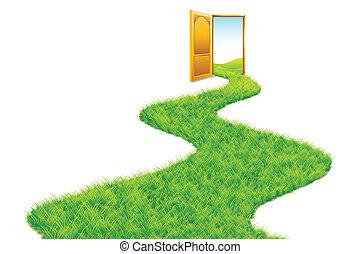 El camino de hierbas lleva al mundo verde