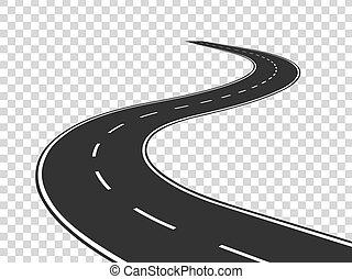 El camino del viento. El tráfico de Journey curva la autopista. Camino al horizonte en perspectiva. Contorno de asfalto vacío concepto aislado