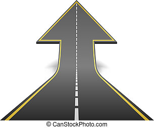 El camino recto se convierte en una flecha ascendente. Ilustración del vector.