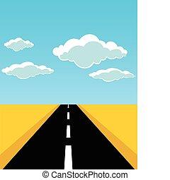 El camino sale hacia el horizonte. Una ilustración del vector