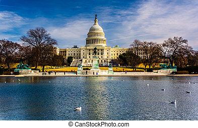 El capital de los Estados Unidos y la piscina reflectante en Washington, DC.