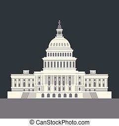 El capital nacional de los EE.UU. en Washington, DC. Un punto de referencia americano. Vector