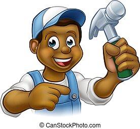El caricaturista carpintero negro