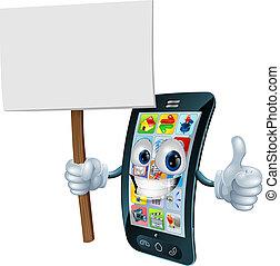 El cartel de anuncios del teléfono móvil