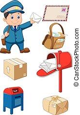 El cartero de Cartoon con bolsa y yo