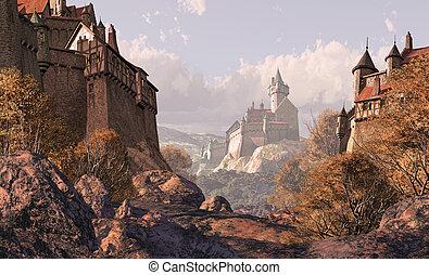 El castillo de la aldea en los tiempos medievales