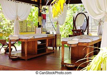 El centro de belleza y masaje