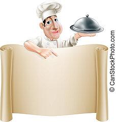 El chef de cartón señala el menú