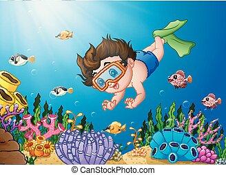 El chico de los dibujos buceando en el mar