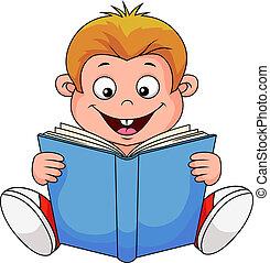 El chico de los dibujos leyendo un libro