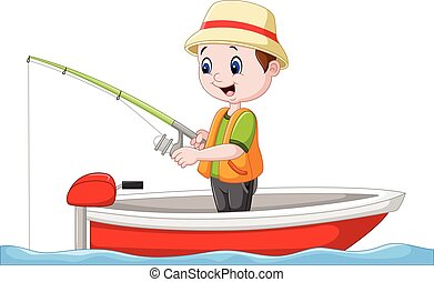El chico de los dibujos pescando en un barco