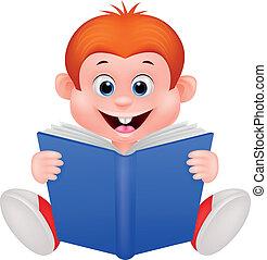 El chico del Cartón leyendo un libro