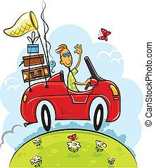 El chico del viaje conduce