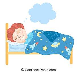 El chico duerme en una cama