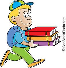 El chico lleva libros