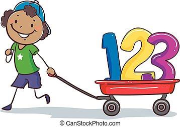 El chico negro palo tirando de una carreta con 123