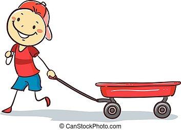 El chico palo tirando de una carreta roja