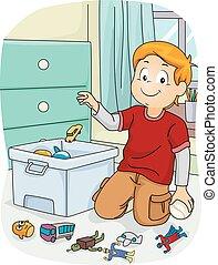 El chico que hace las tareas de la tienda