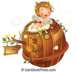 El chico se ducha en una bañera