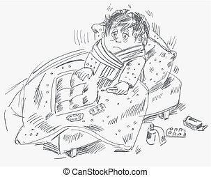 El chico se enfermó y estaba en la cama