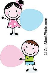 El chico y la chica sosteniendo banderas en blanco