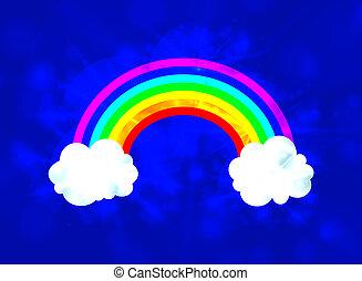 El cielo vector con una ilustración brillante del arco iris, un fondo brillante.