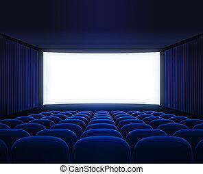 El cine azul vacío con pantalla en blanco para la presentación de películas