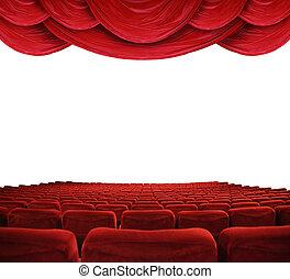 El cine con cortinas rojas