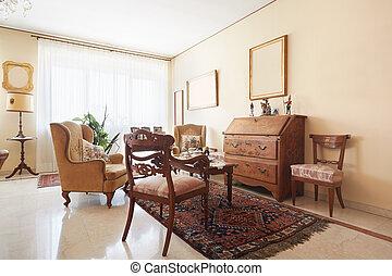 El clásico interior de la sala de estar