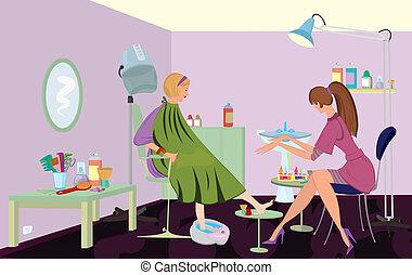 El cliente del salón de belleza se está haciendo pedicura