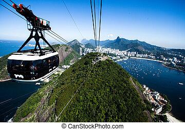 El coche del cable al dulce en Rio de Janeiro, Brasil.