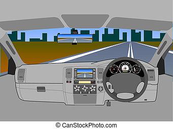 El coche sin conductor en la carretera.