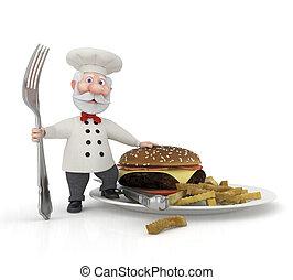 El cocinero 3D con un tenedor.