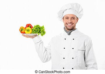 El cocinero con verduras