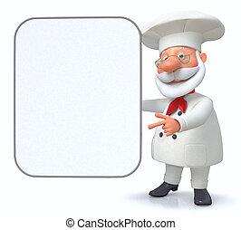 El cocinero muestra el menú