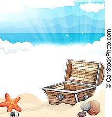 El cofre del tesoro en la arena