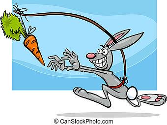 el colgar, refrán, zanahoria, caricatura