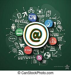 El collage de las redes sociales con iconos en la pizarra
