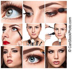 El collage de maquillaje. Detalles profesionales
